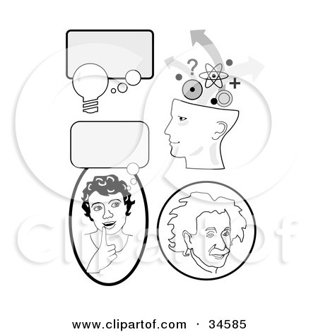 Clipart Illustration of a Set Of Educational Icons With Thought Bubbles, A Girl Thinking, Genius Head And Albert Einstein by C Charley-Franzwa