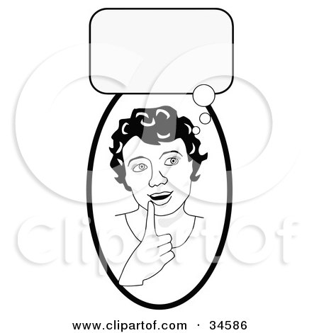 Clipart Illustration of a Smart Girl In Thought, Touching Her Lip, A Bubble Above Her Head by C Charley-Franzwa