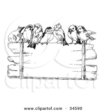 Clipart Illustration of a Crowd Of Cute Finches Perched On Top Of A Blank Wooden Sign by C Charley-Franzwa