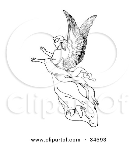 Clipart Illustration of a Graceful Female Angel With Large Wings, Floating Through The Air With Her Arms Out by C Charley-Franzwa