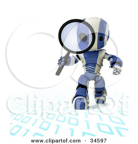Clipart Illustration of a 3D Blue And White AO-Maru Robot Walking On And Inspecting Binary Code With A Magnifying Glass by Leo Blanchette