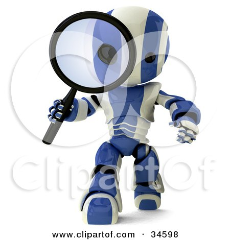 Clipart Illustration of a 3d Blue And White AO-Maru Robot Researching And Peering Through A Magnifying Glass by Leo Blanchette