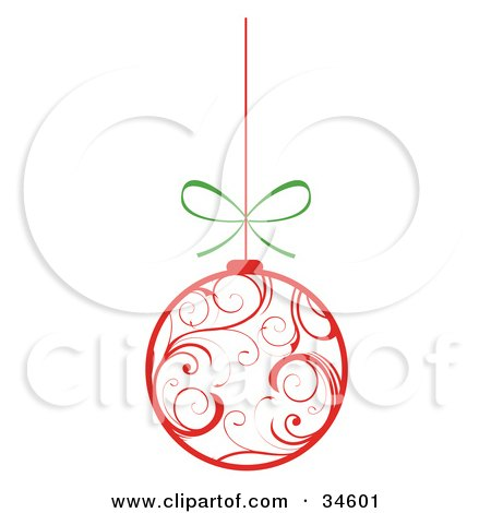 Clipart Illustration of a White Christmas Ornament With Red Swirl Patterns, Suspended From A String With A Bow by OnFocusMedia