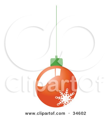 Clipart Illustration of a Shiny Red Christmas Bauble With A Snowflake On It, Suspended From A Green String by OnFocusMedia