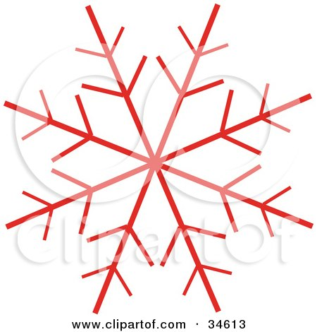 Clipart Illustration of a Red Snowflake With Seven Branches by OnFocusMedia