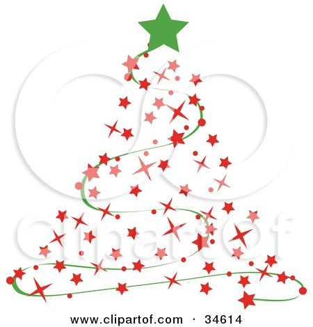 Green Star Atop A Red Starry Christmas Tree With A Green Garland Posters, Art Prints