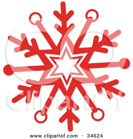 Clipart Illustration of a Bold Red Snowflake With A Center Star by OnFocusMedia