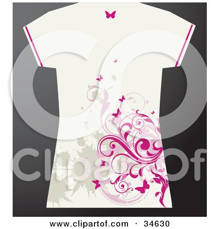Clipart Illustration of a White Grunge Styled Female's T Shirt With Tan Splatters And Pink Butterflies And Vines by OnFocusMedia