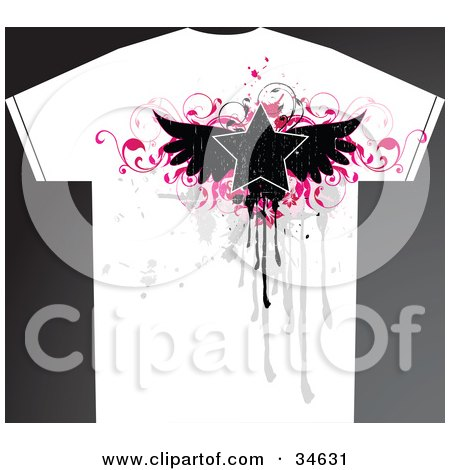 Clipart Illustration of a Grunge Styled Man's T Shirt With A Black Winged Star Over Pink Vines And Gray Drips And Splatters by OnFocusMedia