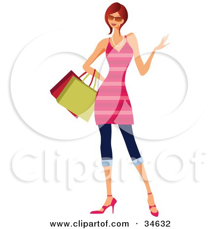 Clipart Illustration of a Stylish Caucasian Red Haired Woman In A Pink Striped Dress, Carrying Shopping Bags by OnFocusMedia