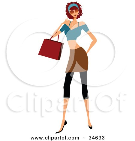 Clipart Illustration of a Stylish Caucasian Lady With Curly Hair, Carrying A Purse While Shopping by OnFocusMedia