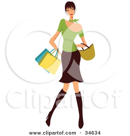 Stylish Caucasian Woman With Black Hair, Dressed In Boots, A Skirt And Green Top, Carrying Shopping Bags And A Purse Posters, Art Prints