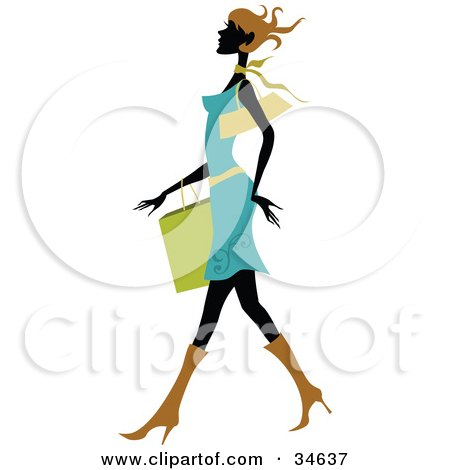 Clipart Illustration of a Sexy Silhouetted Woman With Short Brown Hair, Wearing A Blue Dress, Walking Past With A Shopping Bag On Her Arm by OnFocusMedia