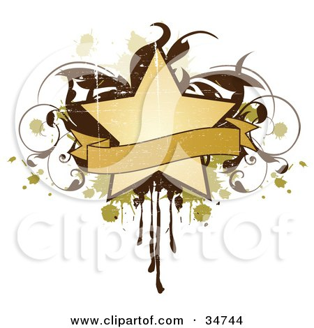 Clipart Illustration of a Grungy Beige Star And Blank Banner Over A Brown Vine And Green And Beige Splatters And Drips by OnFocusMedia