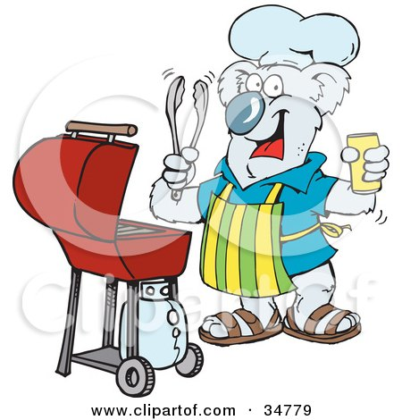 Clipart Illustration of a Happy Koala Holding A Beer, Wearing An Apron And Chefs Hat And Cooking On A Bbq Grill by Dennis Holmes Designs