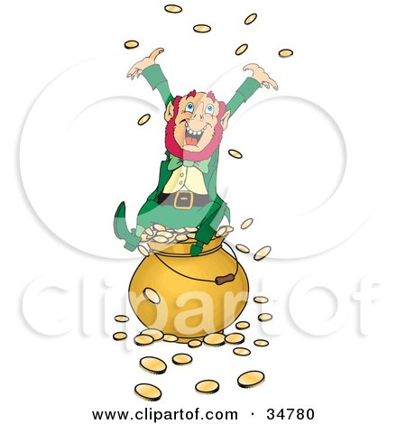 Clipart Illustration Of A Greedy And Rich Leprechaun Sitting Atop A Pot Of Gold Tossing Coins Into The Air
