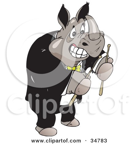 Strong Male Rhino In A Tuxedo, Holding Drumsticks Posters, Art Prints