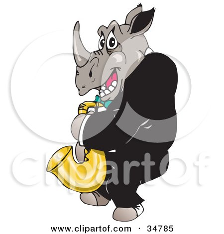 Male Rhino In A Tux, Playing A Saxophone Posters, Art Prints