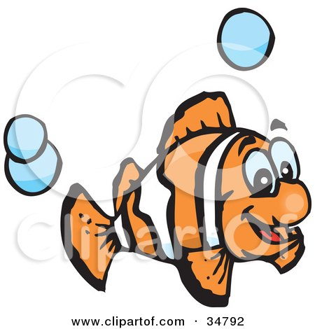 Clipart Illustration of an Excited Orange And White Anemone Fish Swimming With Blue Bubbles by Dennis Holmes Designs