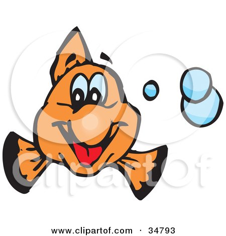 Clipart Illustration of a Friendly Orange Clownfish Smiling And Facing Front, With Blue Bubbles by Dennis Holmes Designs