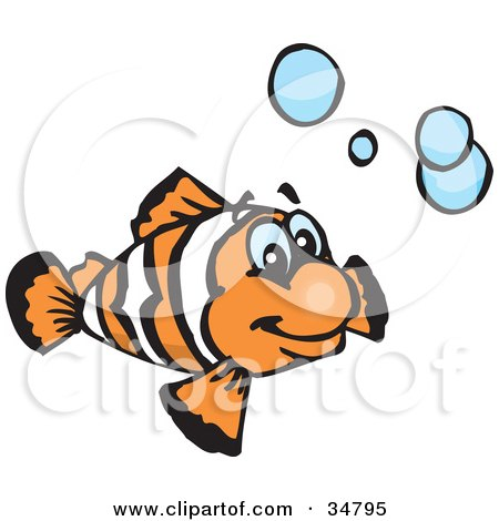 Clipart Illustration of a Happy Orange And White Clownfish Swimming With Blue Bubbles by Dennis Holmes Designs