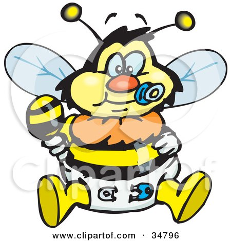 Clipart Illustration of a Baby Bumble Bee Character In A Diaper, Sucking On A Pacifier And Holding A Rattle by Dennis Holmes Designs