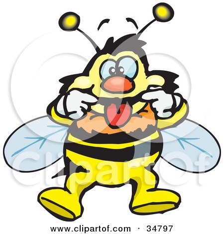 Clipart Illustration of a Bumble Bee Character Pulling Back His Lips While Making A Funny Face by Dennis Holmes Designs