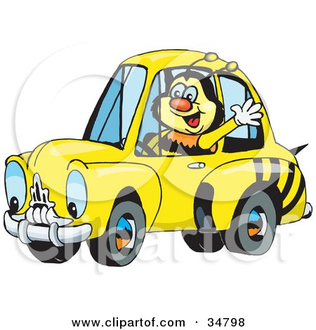 Clipart Illustration of a Bumble Bee Character Waving While Driving By In A Matching Car by Dennis Holmes Designs