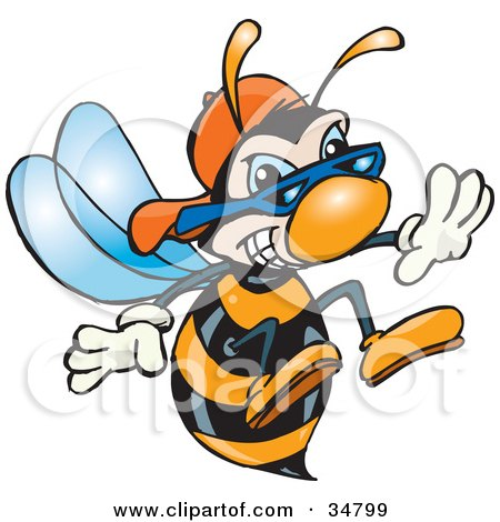 Clipart Illustration of a Black And Orange Hornet Wearing Shades And A Hat, Thrusting His Stinger Forward by Dennis Holmes Designs