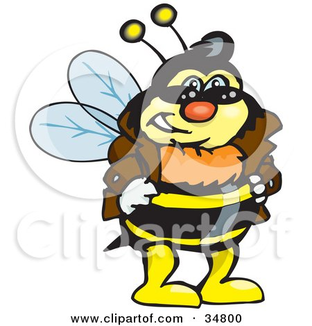Clipart Illustration of a Bumble Bee Character In A Leather Jacket, Wearing Shades And Resting His Hands On His Hips by Dennis Holmes Designs