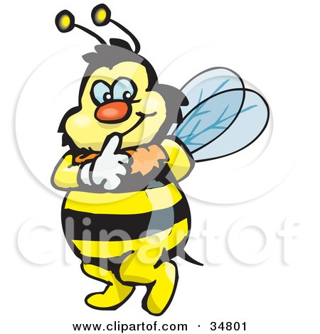 Clipart Illustration of a Bumble Bee Character Touching His Lips To Shush Someone While Tip Toeing by Dennis Holmes Designs