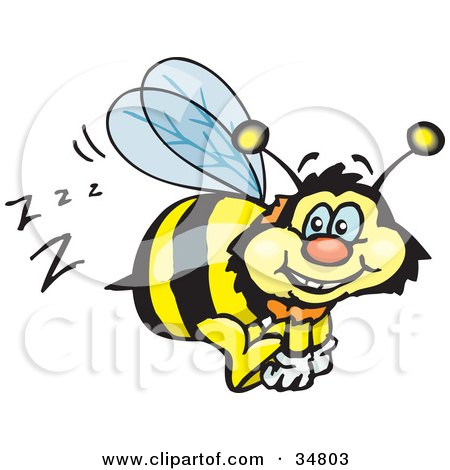 Clipart Illustration of a Bumble Bee Character Buzzing Around While Flying by Dennis Holmes Designs