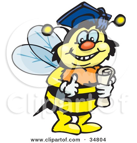 Clipart Illustration of a Smart Bumble Bee Character Wearing A Graduation Cap And Holding A Diploma by Dennis Holmes Designs