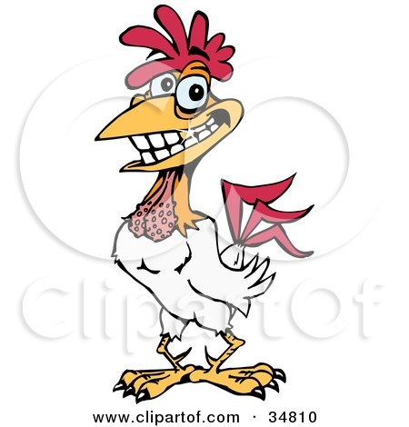 Clipart Illustration of a Handsome White Rooster Grinning, Light Sparkling Off Of His Gold Tooth by Dennis Holmes Designs