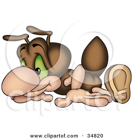 Clipart Illustration of a Cute Brown Ant Character Doing Pushups by dero