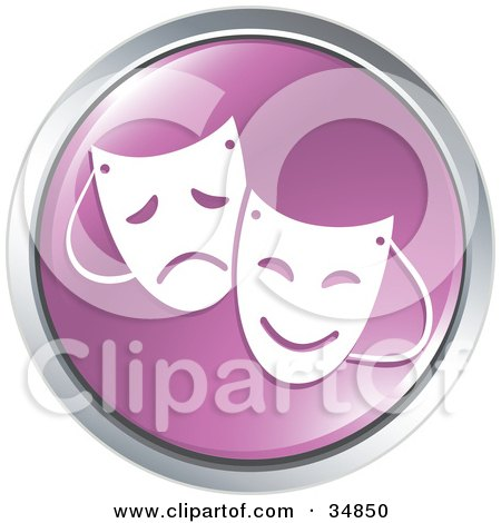 Clipart Illustration of Emotional Drama Masks On A Purple Website Button by Alexia Lougiaki