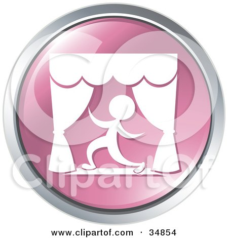 Dramatic Actor Kneeling During A Play On A Pink Website Button Posters, Art Prints