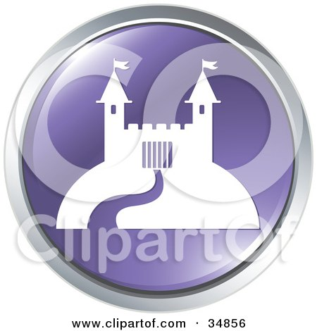 Clipart Illustration of a Path Leading To A Castle On A Purple Website Button by Alexia Lougiaki