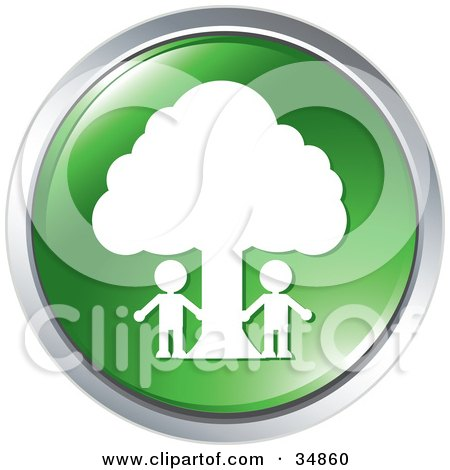 Clipart Illustration of Two People Outside Under A Tree On A Green Website Button by Alexia Lougiaki