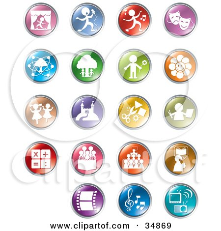 Clipart Illustration Of A Set Of Colorful Entertainment And Business Buttons