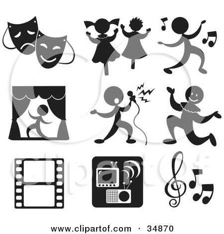 Clipart Illustration Of A Set Of Nine Music And Entertainment Icons