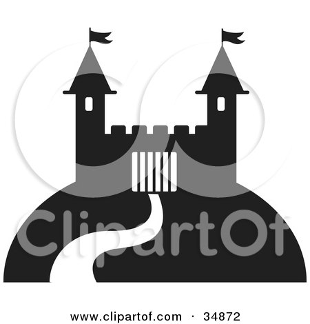 Clipart Illustration of a Winding Path Leading Up To A Fortress On A Hill by Alexia Lougiaki