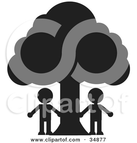 Clipart Illustration of Two Silhouetted People Standing Under A Large Tree by Alexia Lougiaki
