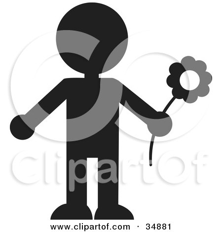 Clipart Illustration of a Silhouetted Person Holding A Spring Flower by Alexia Lougiaki