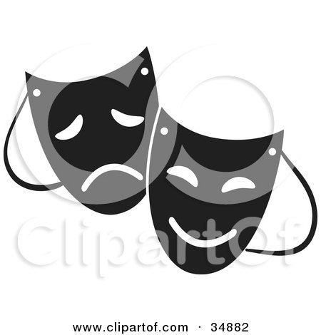 Royalty-free clipart picture of two theater masks with sad and happy