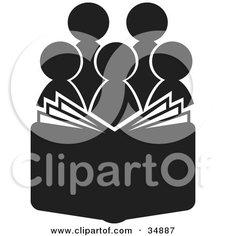 Clipart Illustration of a Group Of Silhouetted Choir Or Church Members Behind An Open Book Or Bible by Alexia Lougiaki