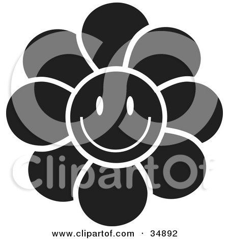 Royalty-free clipart picture of a black flower with a smiley face,
