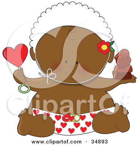 Clipart Illustration of a Black Valentine's Day Baby In A Heart Diaper, Holding A Rattle And Chocolates, Wearing A Bonnet by Maria Bell