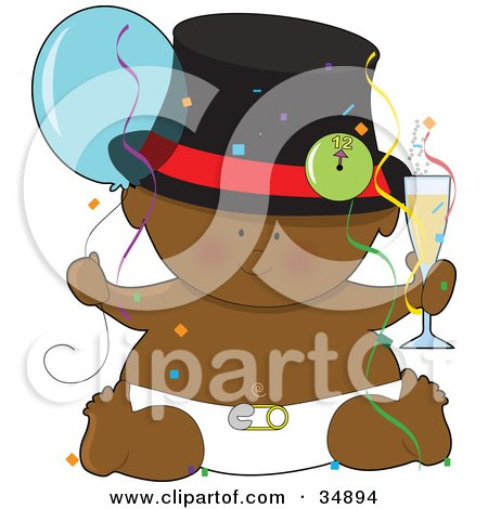 Clipart Illustration of a Black New Year's Baby In A Diaper, Holding A Balloon And Glass Of Champagne, Surrounded By Confetti by Maria Bell