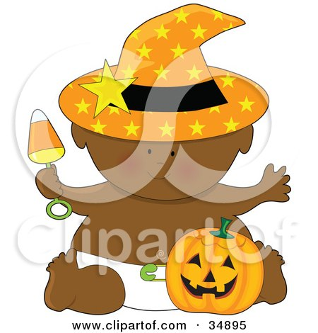 Clipart Illustration of a Black Halloween Baby In A Diaper, Holding A Candy Corn Rattle, Wearing A Witches Hat And Sitting With A Pumpkin by Maria Bell
